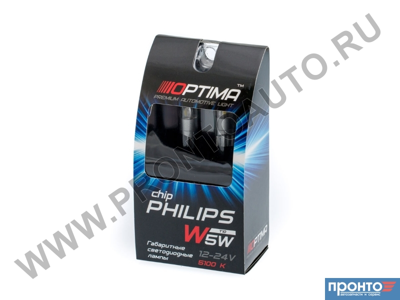 Лампа T10 светодиодная Optima Premium W5W PHILIPS Chip 2